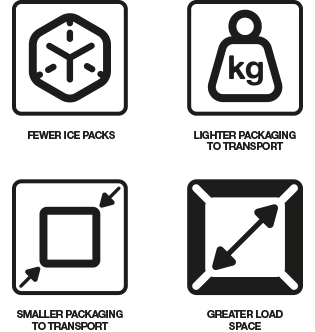 Ice pack icons for insulated packaging transport